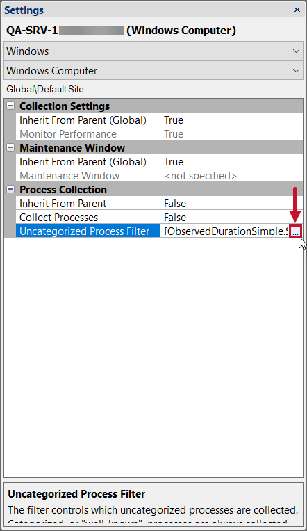 SentryOne Settings pane Uncategorized Process Filter settings