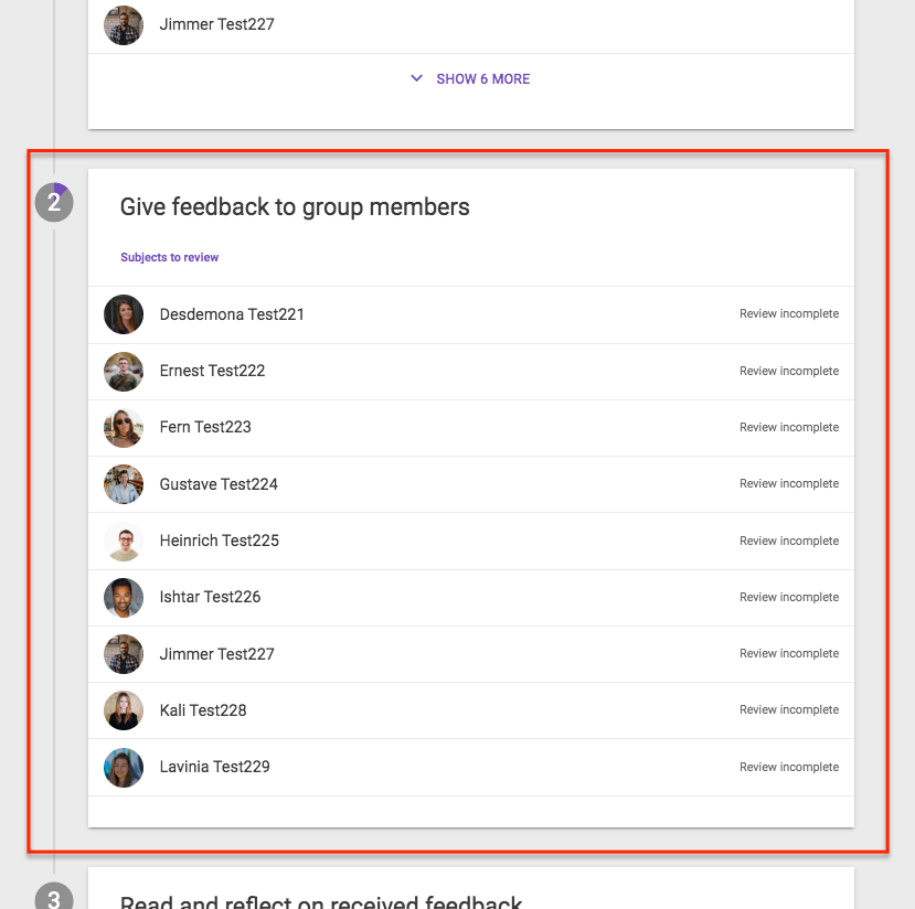 Screen shows Give Feedback to group members, and lists users.