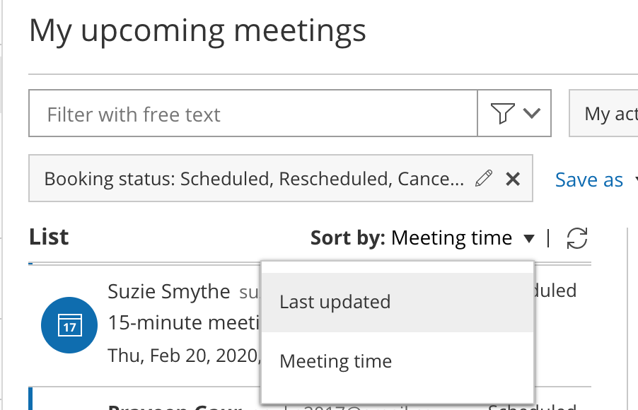Figure 2: Sort activities by Last updated or Meeting time