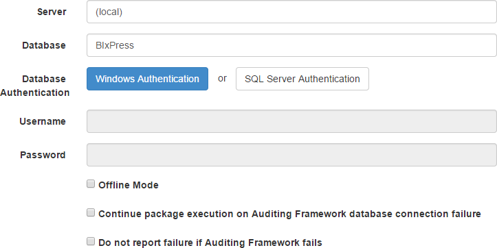 BI xPress Server Auditing Framework Database Connection page