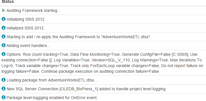 BI xPress Server Auditing Framework Progress Page