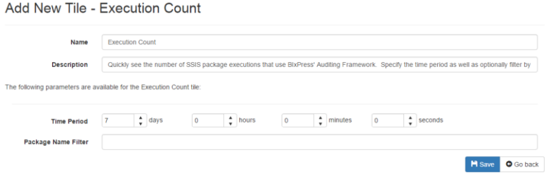 BI xPress Server System Dashboard Execution Count