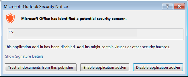 Figure 1: Outlook security notice
