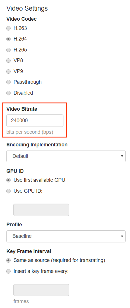 Configure transcoder video settings