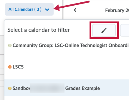 Identifies Change Calendar Colors icon.