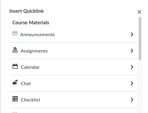 Shows the quicklink options.