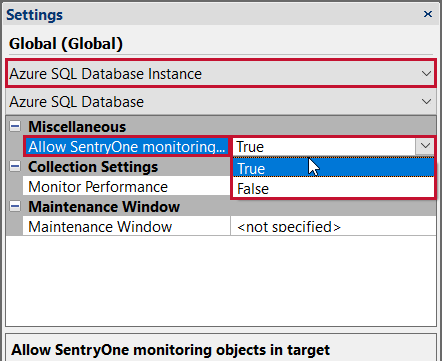 SentryOne Azure SQL Database settings