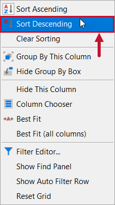 SentryOne Top SQL Sort Descending context menu option