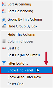 SentryOne Top SQL Show Find Panel context menu option
