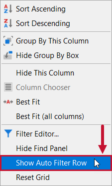 SentryOne Top SQL Show Auto Filter Row context menu option