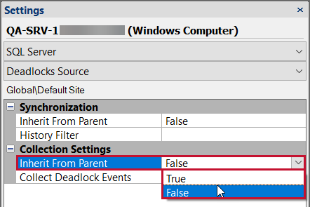 SentryOne Settings pane change Collection Settings to False