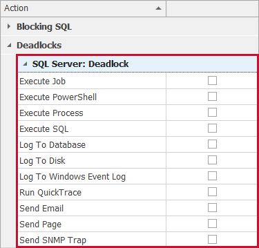 SentryOne Actions Selector SQL Server: Deadlock