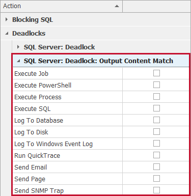 SentryOne Actions Selector SQL Server: Deadlock: Output Content Match