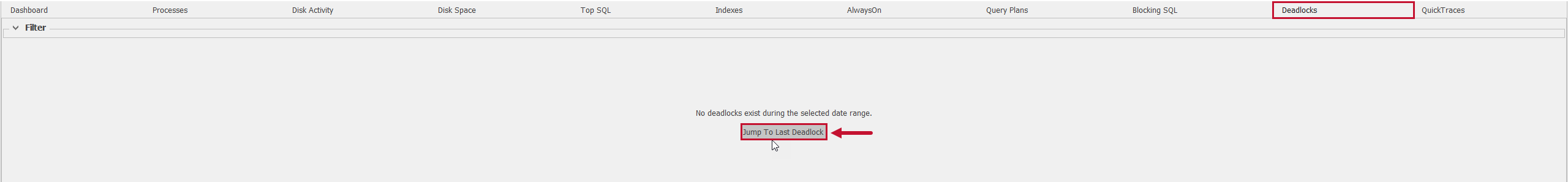 SentryOne Deadlocks tab Jump To Last Deadlock button
