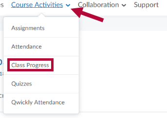 Indicates Course Activities link and identifies Class Progress link.