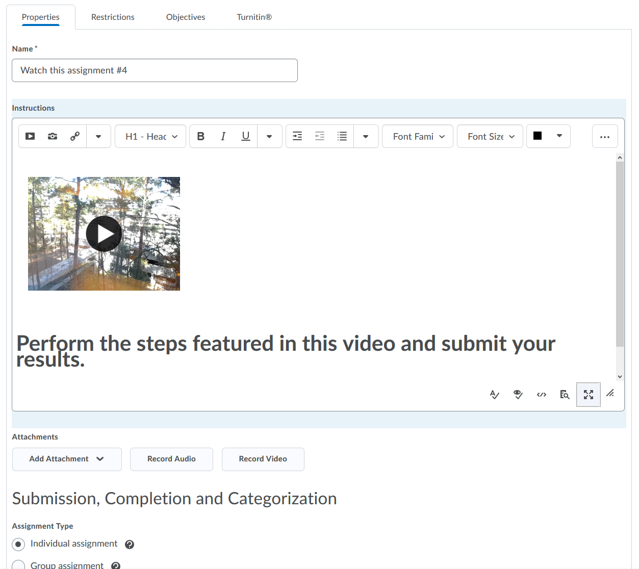 Shows embedded video within D2L assignment Instructions HTML editor.