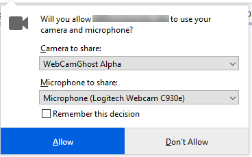 Shows camera and audio selector dialog box.