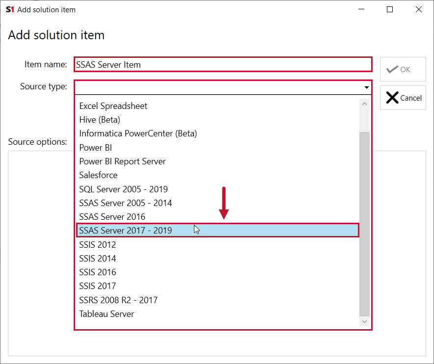 SentryOne Document Add Solution Item SSAS Server 2017-2019