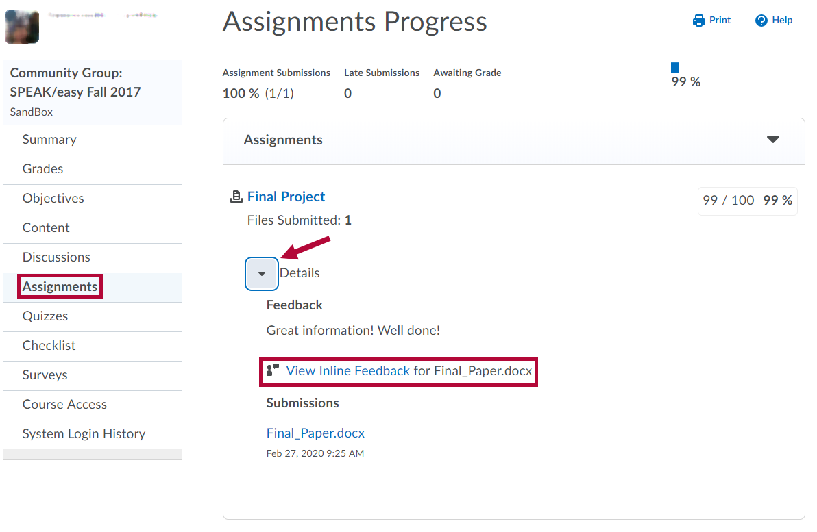 Identifies Assignments link in Class Progress and View Inline Feedback link.