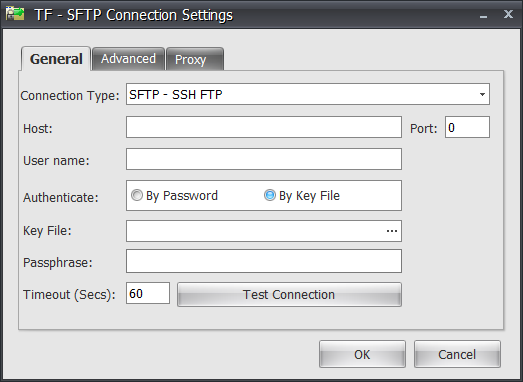 Task Factory Secure FTP Connection Manager General By Key File