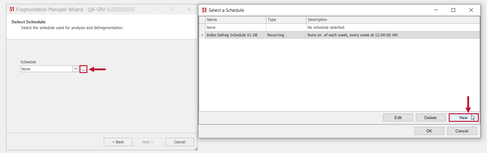 SentryOne Fragmentation Manager Wizard New Schedule