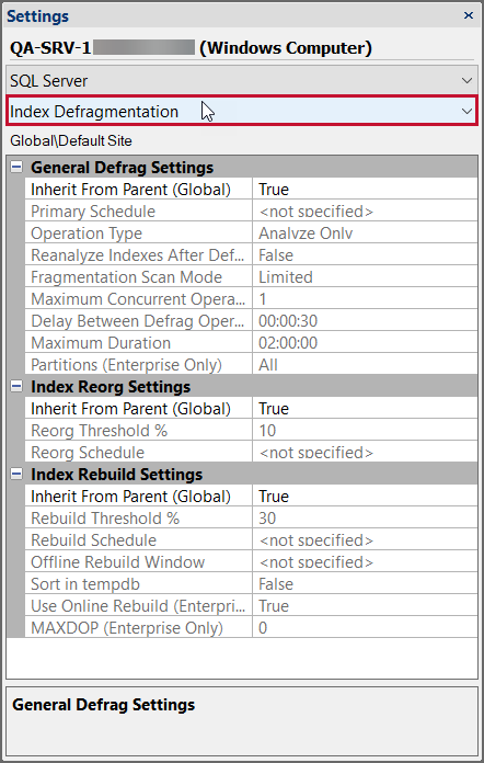 SentryOne Settings pane Index Defragmentation Settings