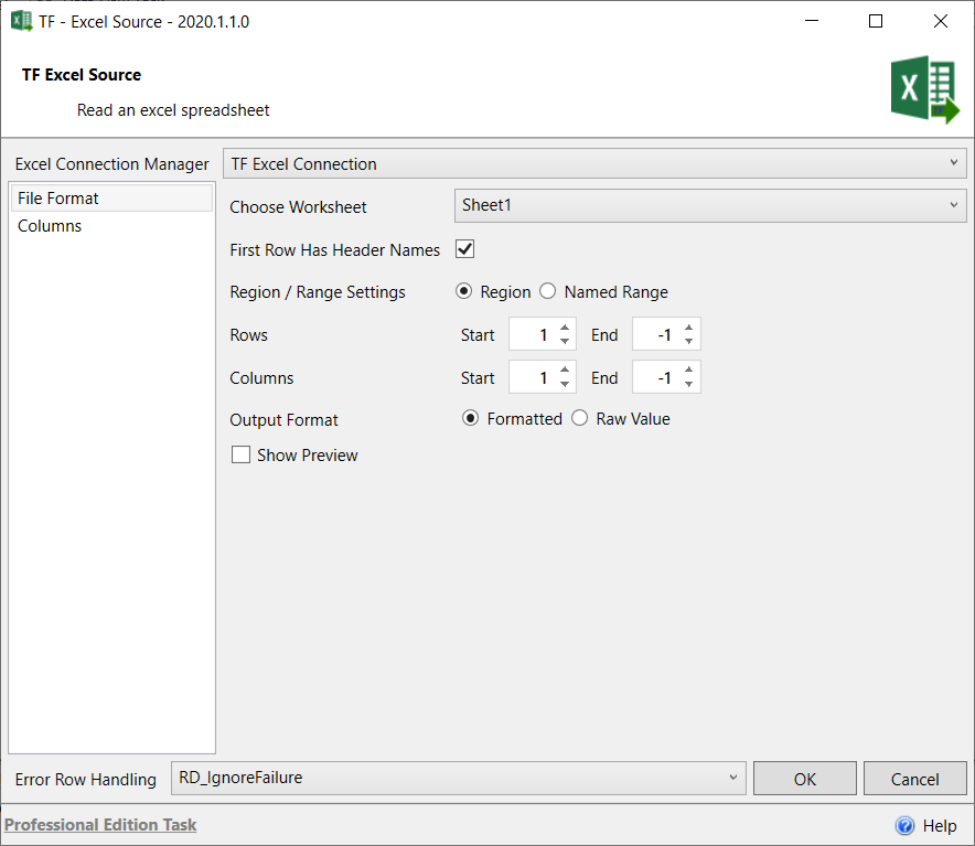 Task Factory Excel Source File Format