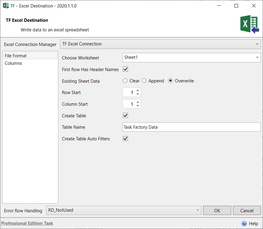 Task Factory Excel Destination File Format