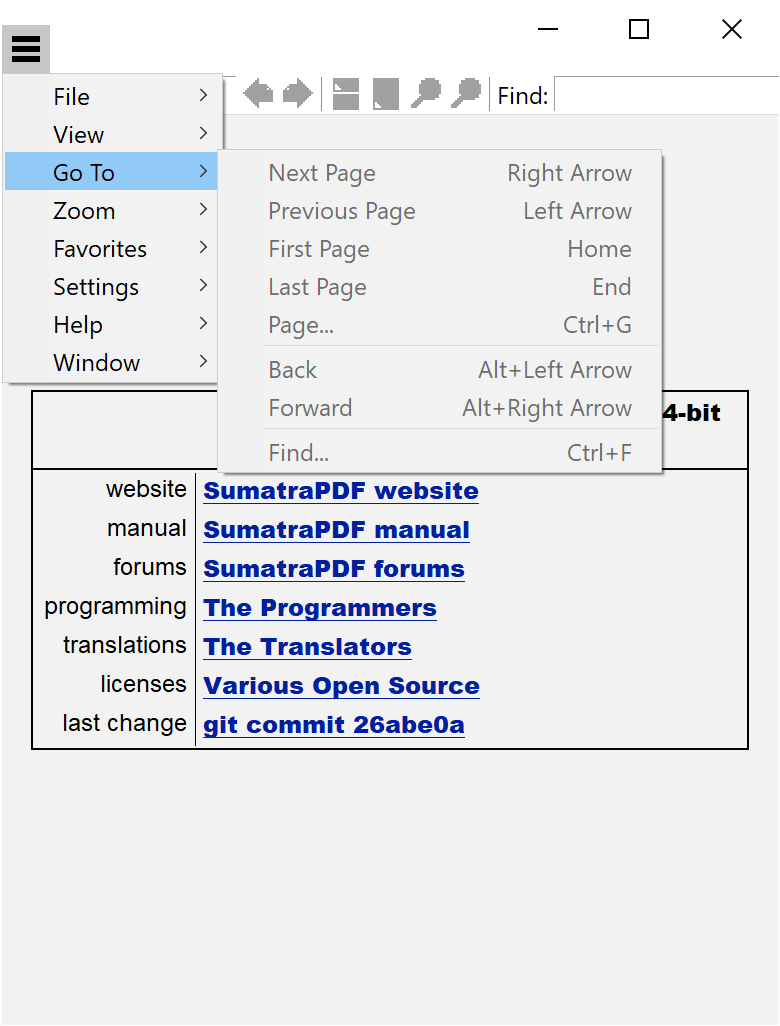 A screenshot of the go to menu, outlining its functions.