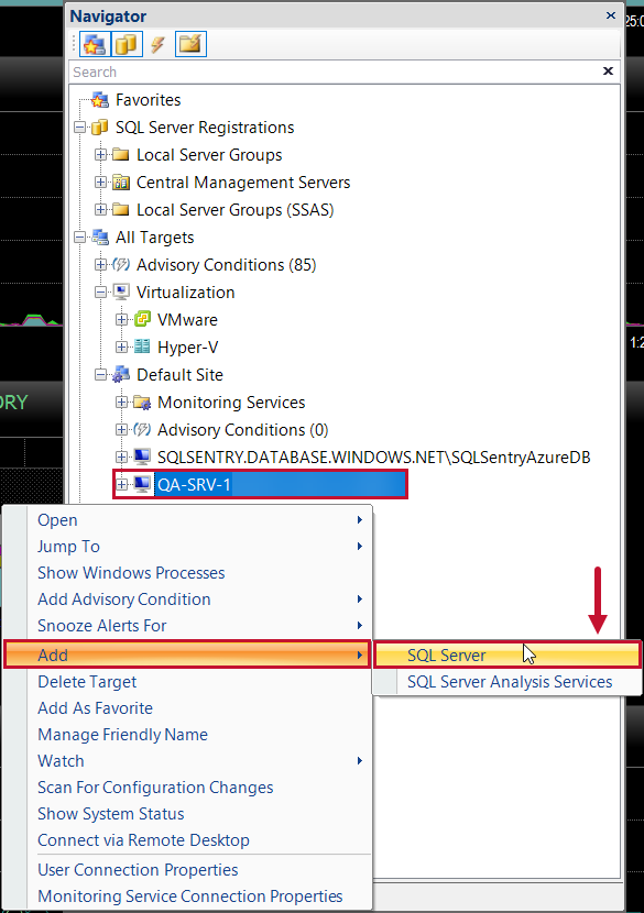 SentryOne Navigator Pane Add SQL Server Instance