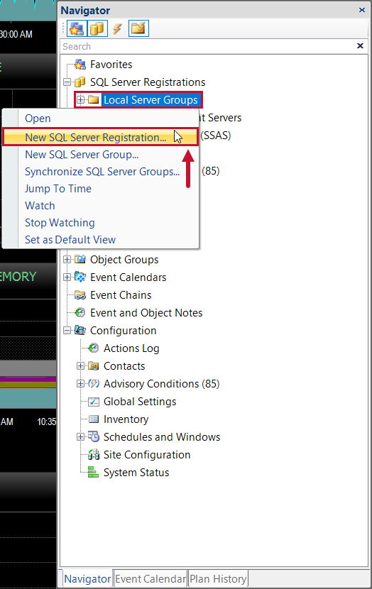 SentryOne Navigator Pane New SQL Server Registration