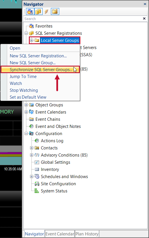 SentryOne Navigator Pane Synchronize SQL Server Groups