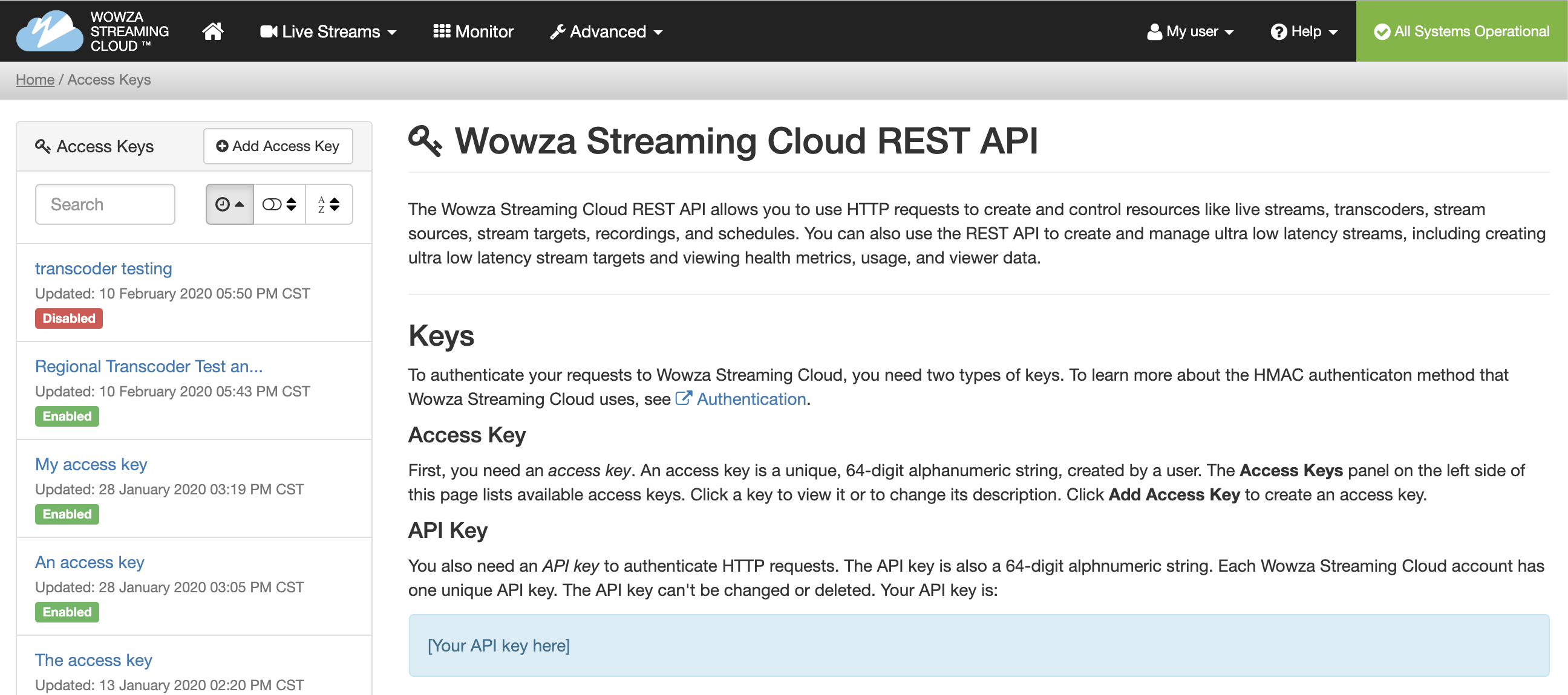 Access the API page in Wowza Streaming Cloud