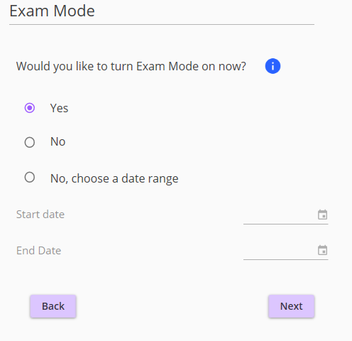 Option to turn on exam features