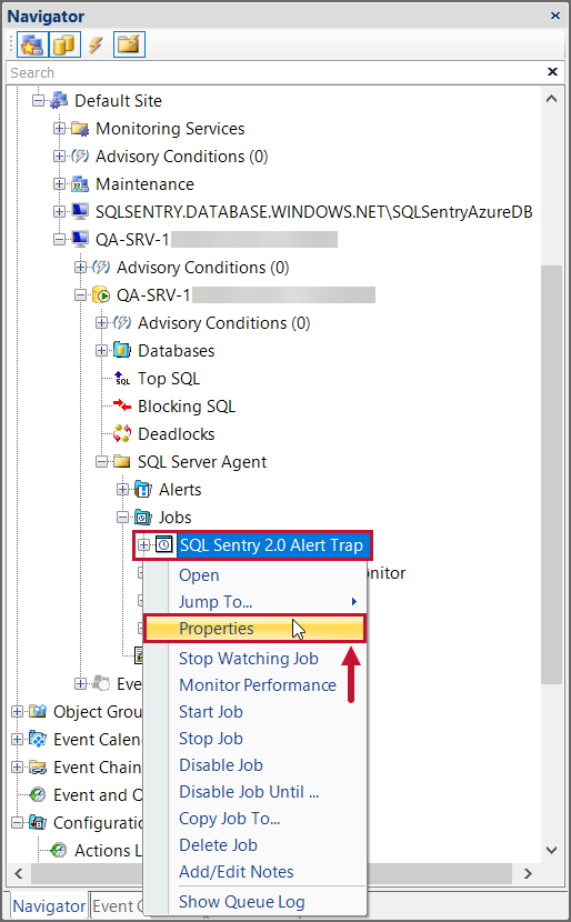 SentryOne Navigator Pane SQL Server Agent Job Properties