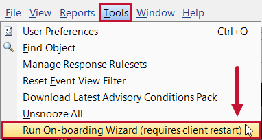 SentryOne Tools > Run On-boarding Wizard