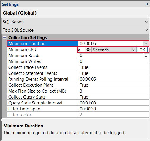 SentryOne Settings Pane Global SQL Server Top SQL Source Minimum Duration
