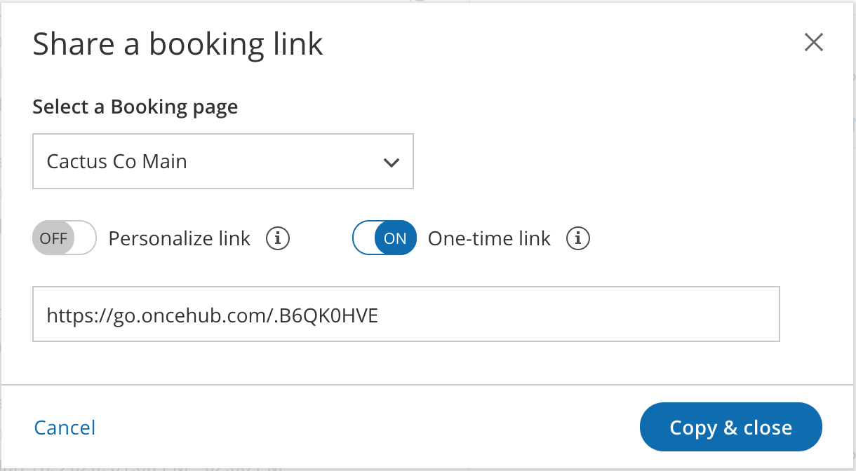 One-time link toggle button