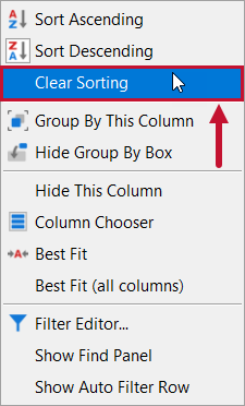 SentryOne Distributed Queries Clear Sorting context menu