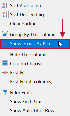 SentryOne Distributed Queries Show Group by box context menu