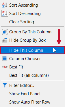 SentryOne Distributed Queries Hide This Column context menu