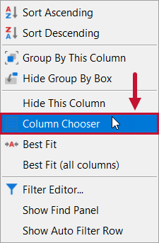 SentryOne Distributed Queries Column Chooser context menu