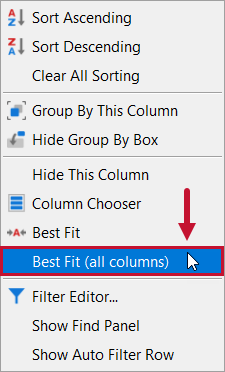 SentryOne Distributed Queries Best Fit (all columns) context menu