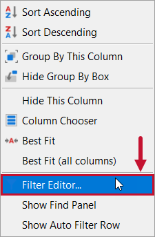 SentryOne Distributed Queries Filter Editor context menu