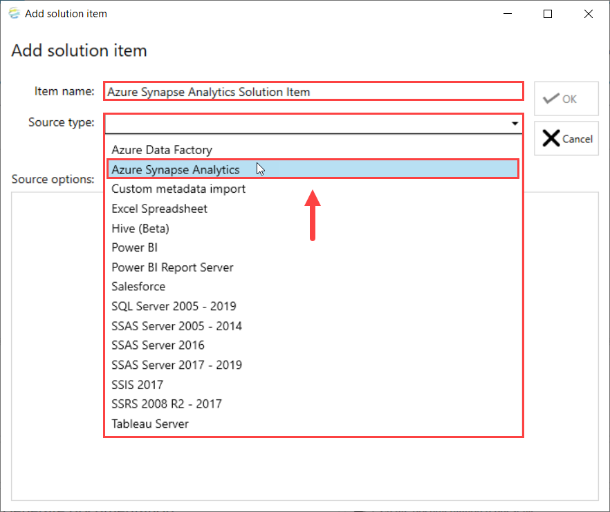 DOC xPress Add Solution Item Azure Synapse Analytics