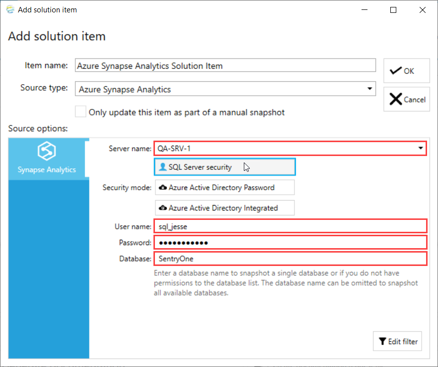 DOC xPress Add Solution Item Azure Synapse Analytics Server information
