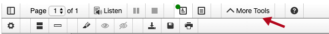Shows docReader toolbar