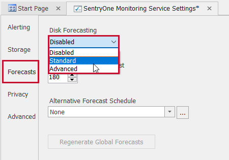 SentryOne Monitoring Service Settings Forecasts Disk Forecasting drop down