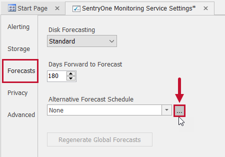 SentryOne Monitoring Service Settings Forecasts Alternative Forecast Schedule