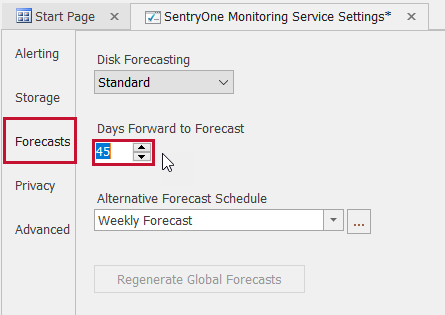 SentryOne Monitoring Service Settings Forecasts Days Forward to Forecast